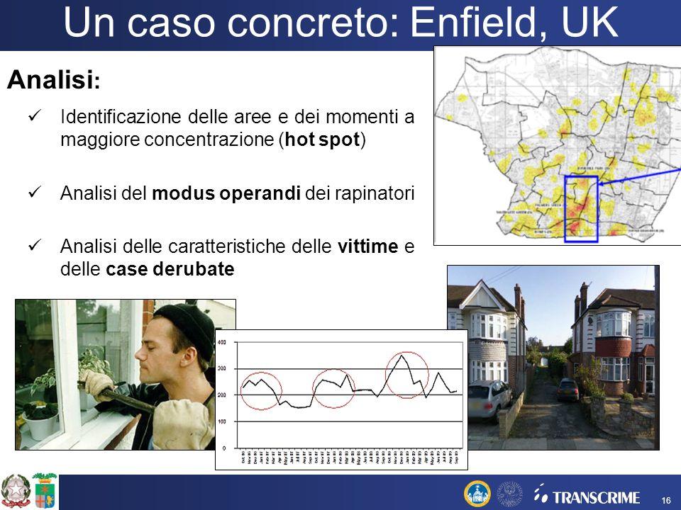 Un caso concreto: Enfield, UK Analisi : Identificazione delle aree e dei momenti a maggiore concentrazione (hot spot) Analisi del modus operandi dei r