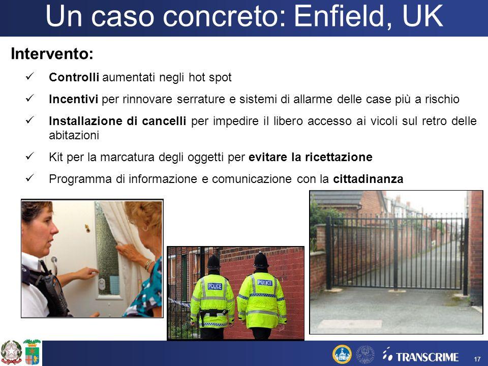 Un caso concreto: Enfield, UK Intervento: Controlli aumentati negli hot spot Incentivi per rinnovare serrature e sistemi di allarme delle case più a r