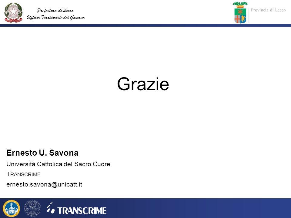 Prefettura di Lecco Ufficio Territoriale del Governo Grazie Ernesto U. Savona Università Cattolica del Sacro Cuore T RANSCRIME ernesto.savona@unicatt.