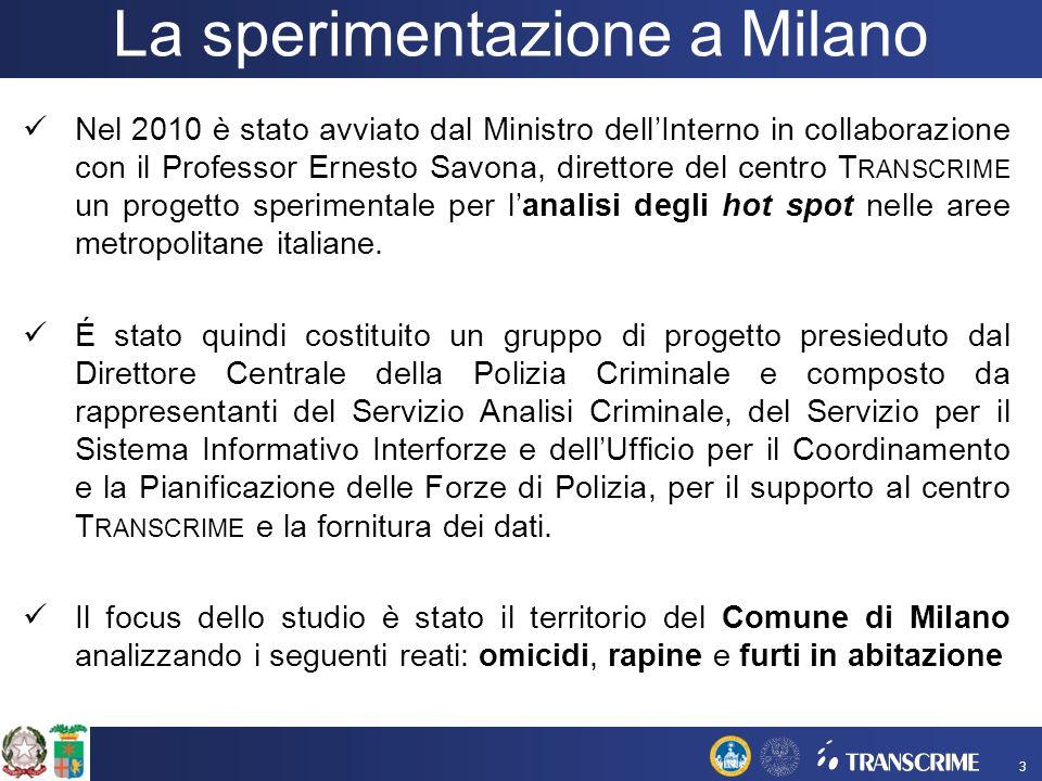 Nel 2010 è stato avviato dal Ministro dellInterno in collaborazione con il Professor Ernesto Savona, direttore del centro T RANSCRIME un progetto sperimentale per lanalisi degli hot spot nelle aree metropolitane italiane.
