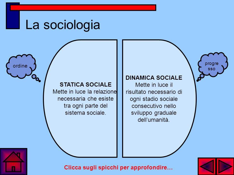La sociologia Compito della sociologia è quello di percepire nettamente il sistema generale delle operazioni successive, filosofiche e politiche, che