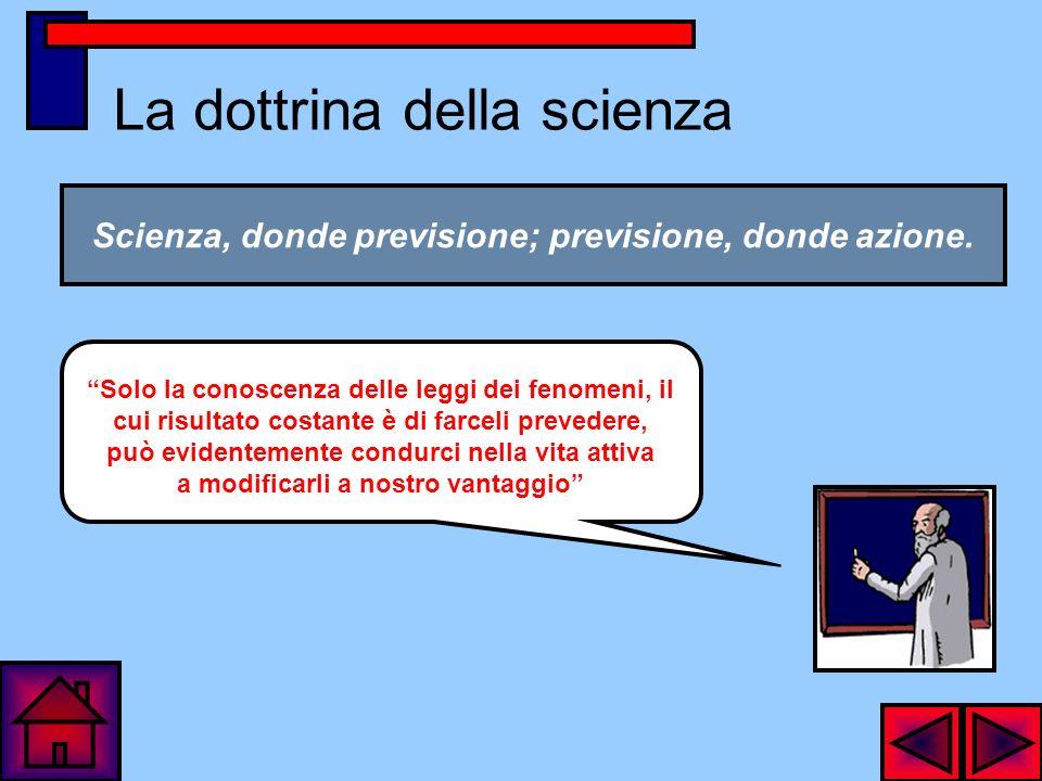 La dottrina della scienza Scienza, donde previsione; previsione, donde azione.