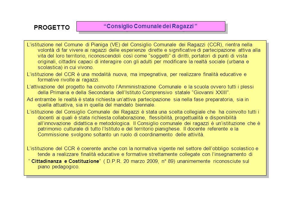 Listituzione nel Comune di Pianiga (VE) del Consiglio Comunale dei Ragazzi (CCR), rientra nella volontà di far vivere ai ragazzi delle esperienze dire