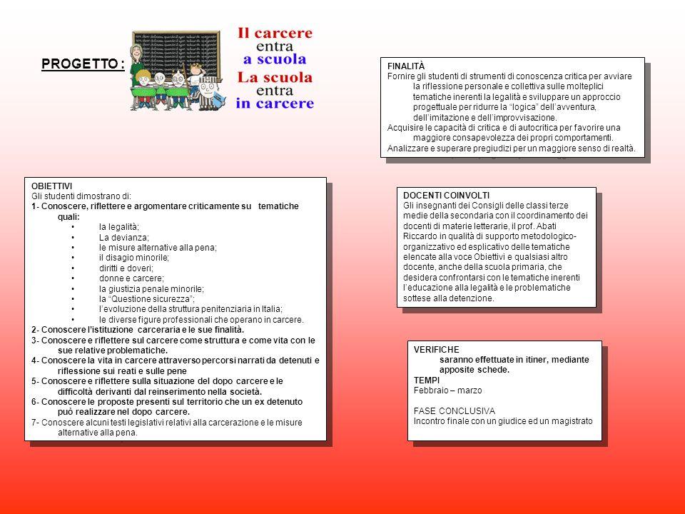 PROGETTO : FINALITÀ Fornire gli studenti di strumenti di conoscenza critica per avviare la riflessione personale e collettiva sulle molteplici tematic