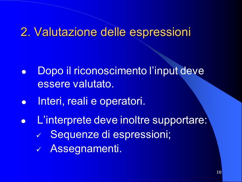 10 2. Valutazione delle espressioni Linterprete deve inoltre supportare: Sequenze di espressioni; Assegnamenti. Dopo il riconoscimento linput deve ess