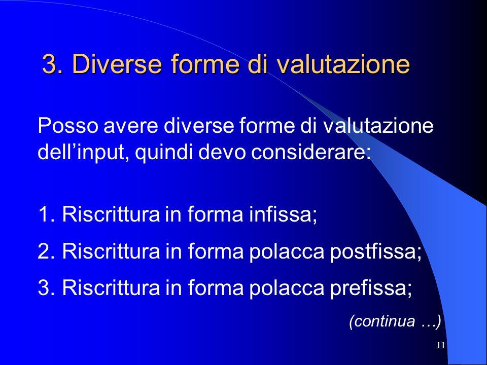 11 3. Diverse forme di valutazione Posso avere diverse forme di valutazione dellinput, quindi devo considerare: 1. Riscrittura in forma infissa; 2.Ris