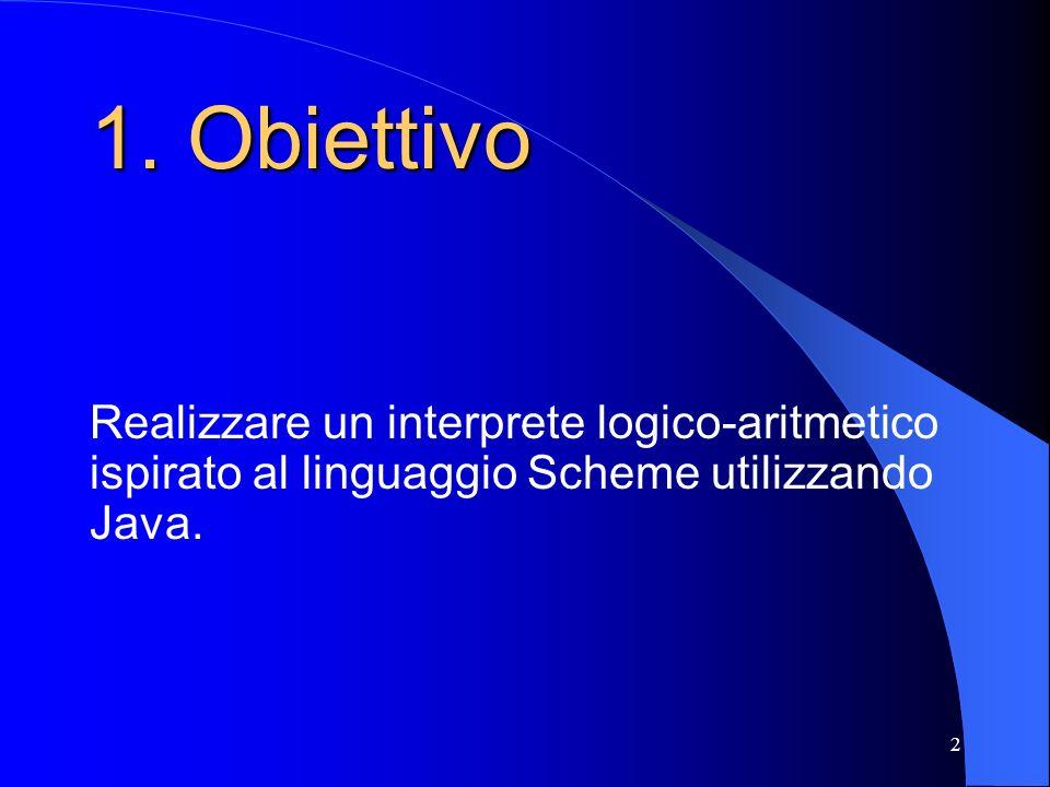 2 1. Obiettivo Realizzare un interprete logico-aritmetico ispirato al linguaggio Scheme utilizzando Java.