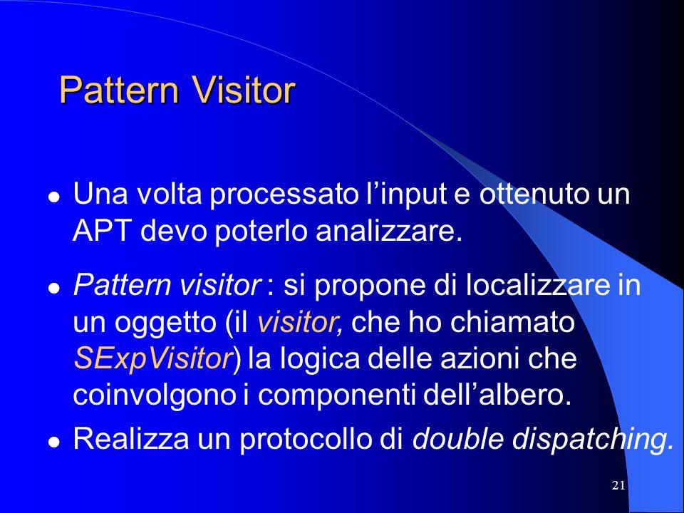 21 Pattern Visitor Una volta processato linput e ottenuto un APT devo poterlo analizzare. Pattern visitor : si propone di localizzare in un oggetto (i