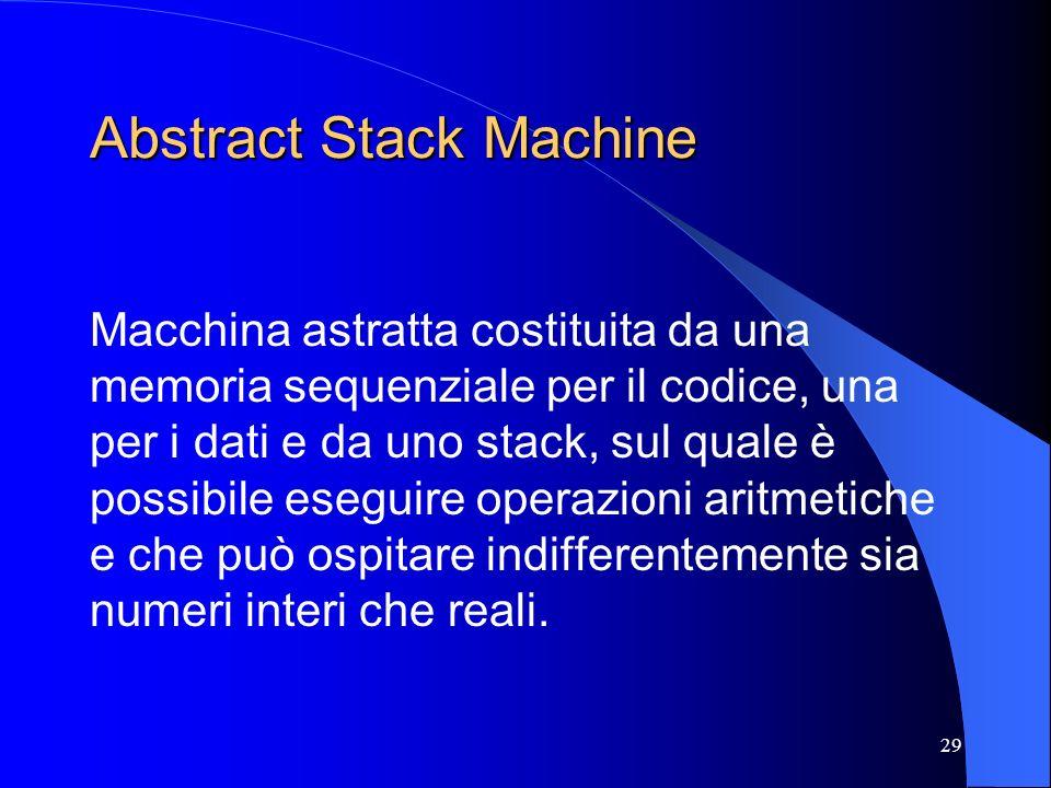 29 Abstract Stack Machine Macchina astratta costituita da una memoria sequenziale per il codice, una per i dati e da uno stack, sul quale è possibile