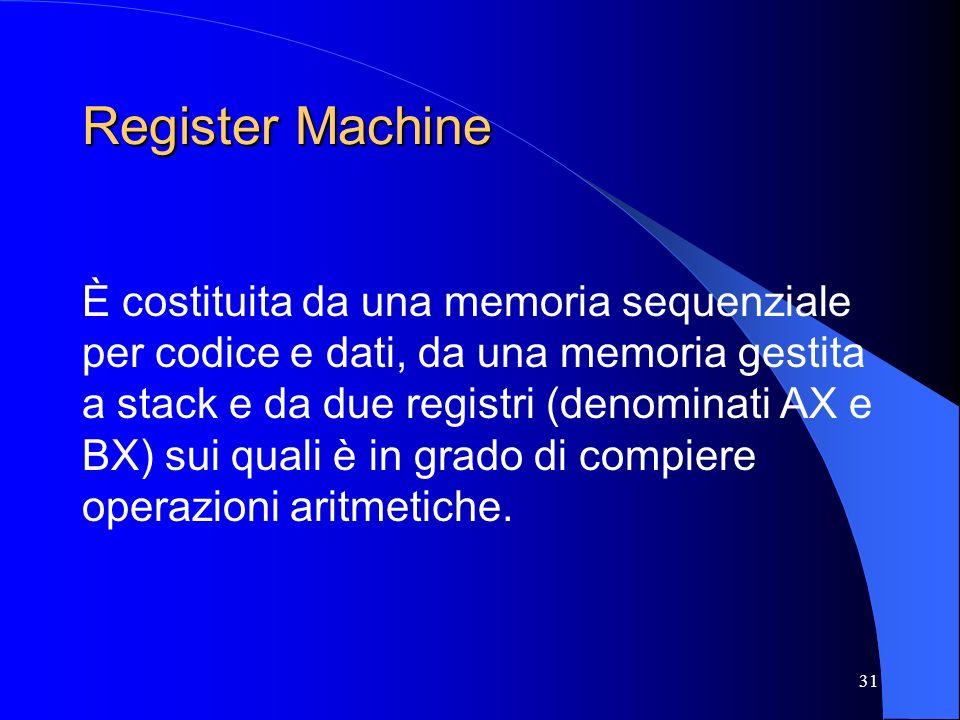 31 Register Machine È costituita da una memoria sequenziale per codice e dati, da una memoria gestita a stack e da due registri (denominati AX e BX) s