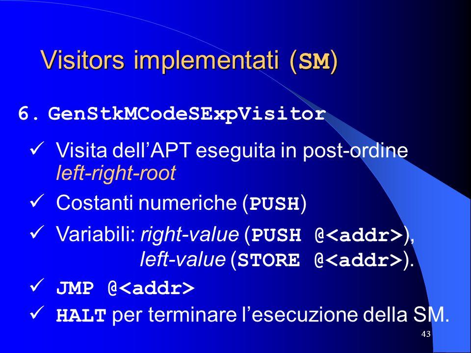 43 Visitors implementati ( SM ) 6.GenStkMCodeSExpVisitor Costanti numeriche ( PUSH ) Variabili: right-value ( PUSH @ ), left-value ( STORE @ ). Visita