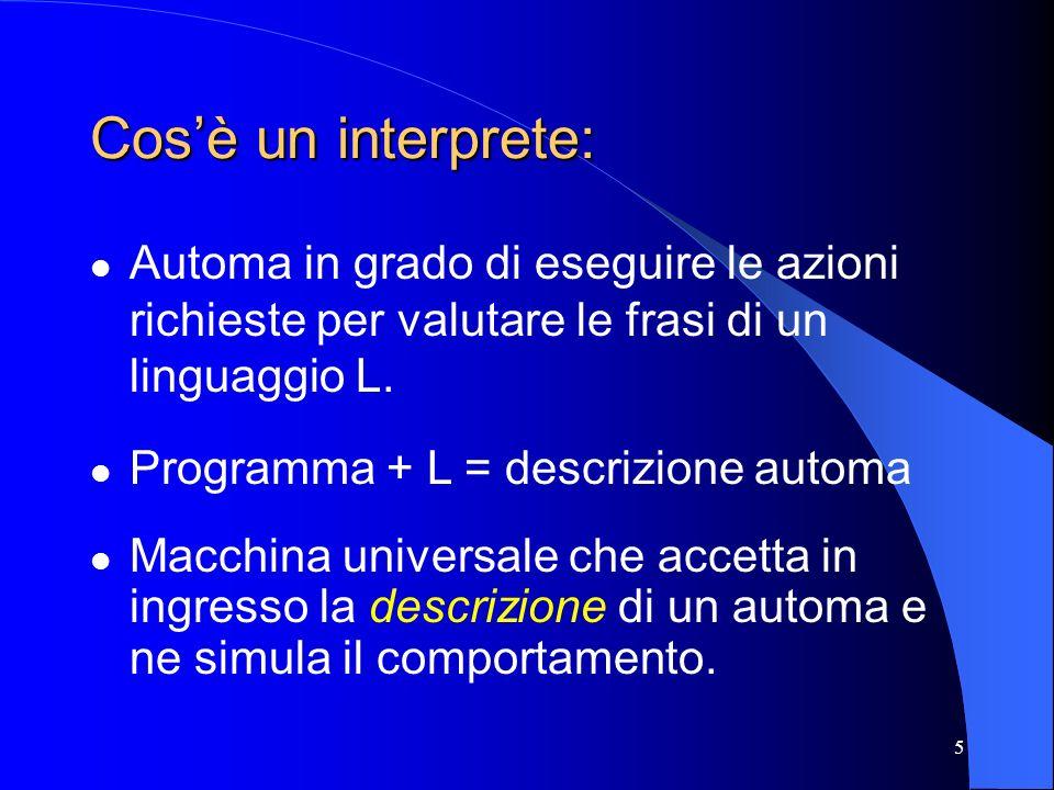 5 Cosè un interprete: Automa in grado di eseguire le azioni richieste per valutare le frasi di un linguaggio L. Programma + L = descrizione automa Mac