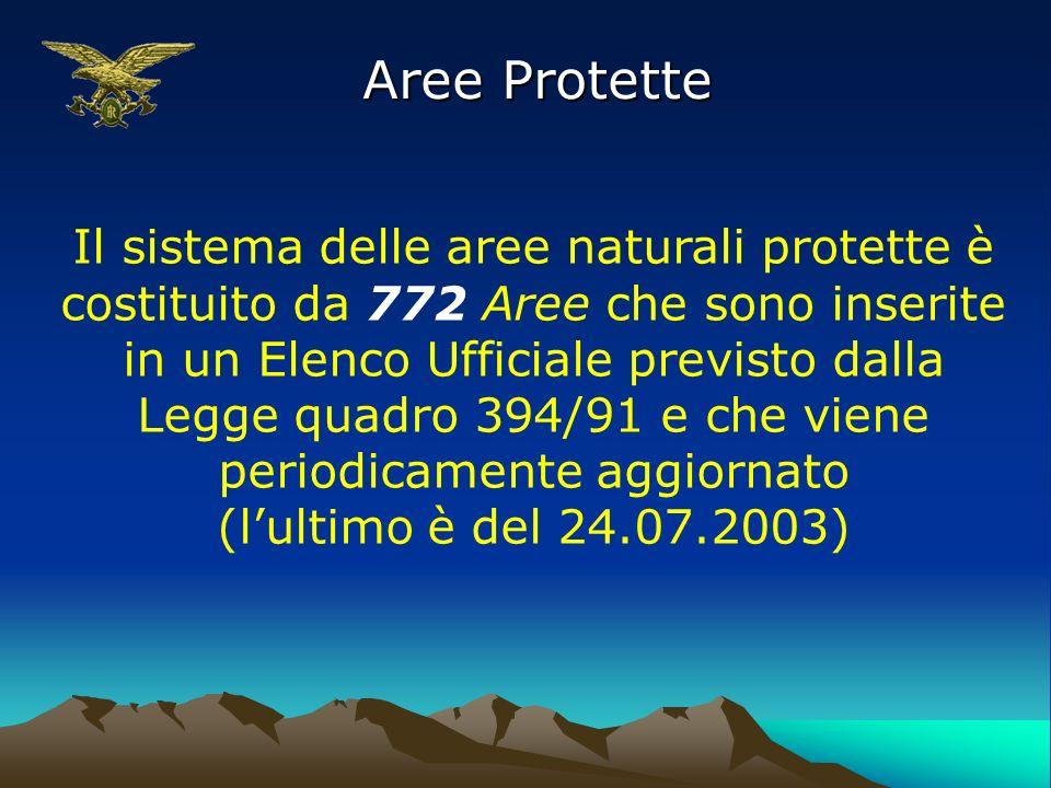Aree Protette Il sistema delle aree naturali protette è costituito da 772 Aree che sono inserite in un Elenco Ufficiale previsto dalla Legge quadro 39