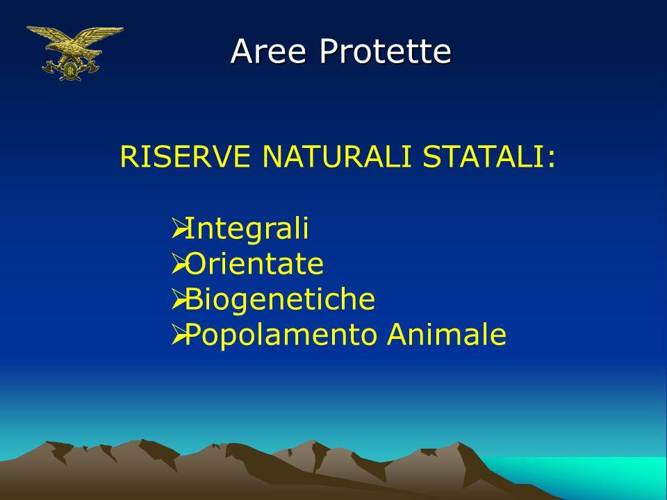 Aree Protette RISERVE NATURALI STATALI: Integrali Orientate Biogenetiche Popolamento Animale