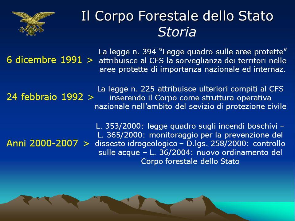 Il Corpo Forestale dello Stato Storia 6 dicembre 1991 > La legge n. 394 Legge quadro sulle aree protette attribuisce al CFS la sorveglianza dei territ