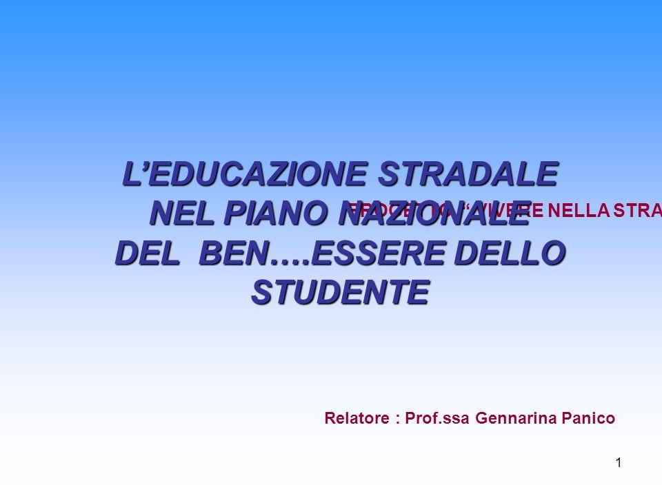 1 PROGETTO VIVERE NELLA STRADA LEDUCAZIONE STRADALE NEL PIANO NAZIONALE DEL BEN….ESSERE DELLO STUDENTE Relatore : Prof.ssa Gennarina Panico
