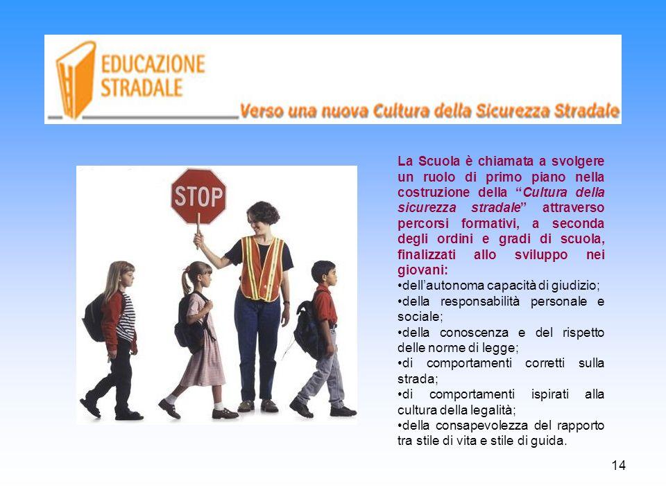 14 La Scuola è chiamata a svolgere un ruolo di primo piano nella costruzione della Cultura della sicurezza stradale attraverso percorsi formativi, a s