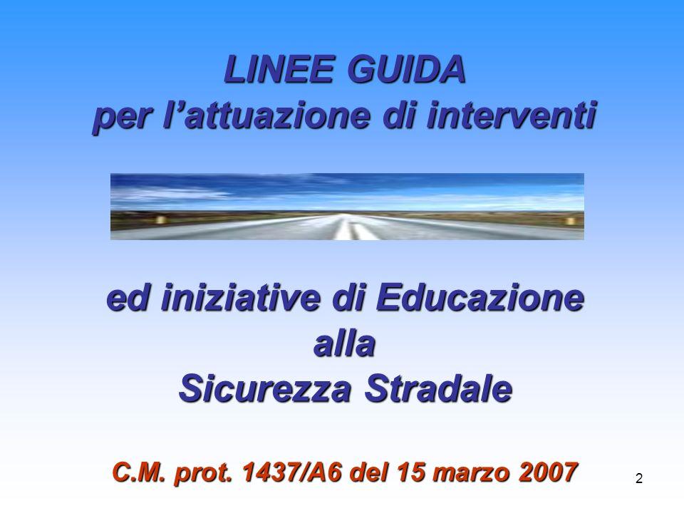 2 LINEE GUIDA per lattuazione di interventi ed iniziative di Educazione alla Sicurezza Stradale C.M. prot. 1437/A6 del 15 marzo 2007