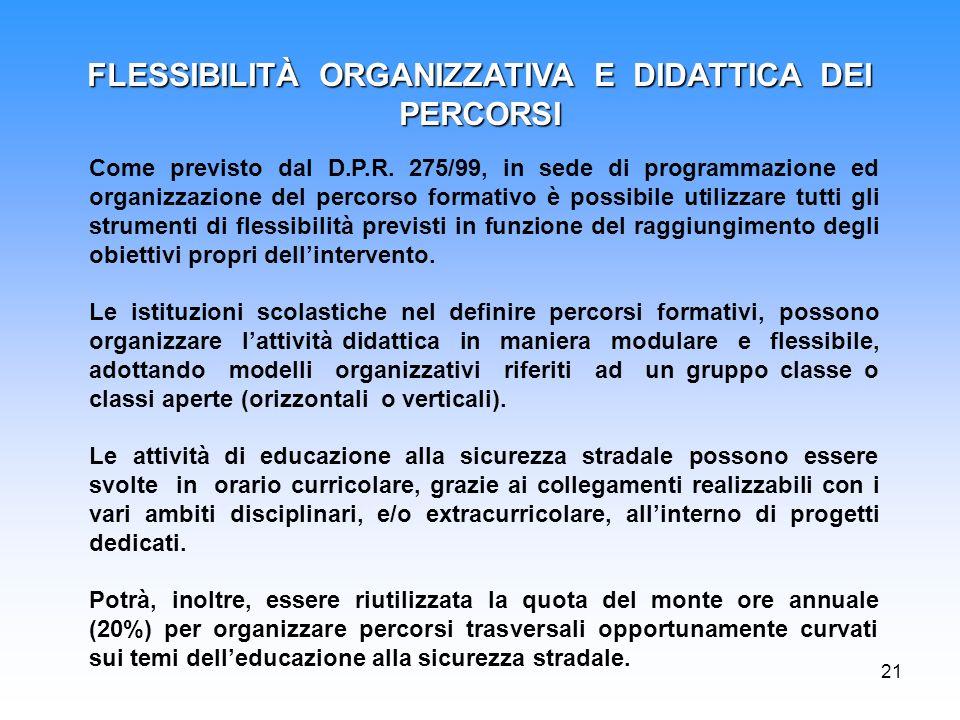 21 Come previsto dal D.P.R. 275/99, in sede di programmazione ed organizzazione del percorso formativo è possibile utilizzare tutti gli strumenti di f