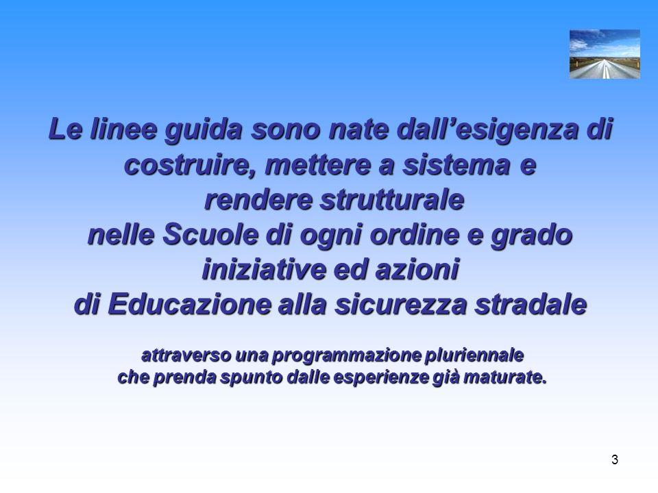 3 Le linee guida sono nate dallesigenza di costruire, mettere a sistema e rendere strutturale nelle Scuole di ogni ordine e grado iniziative ed azioni