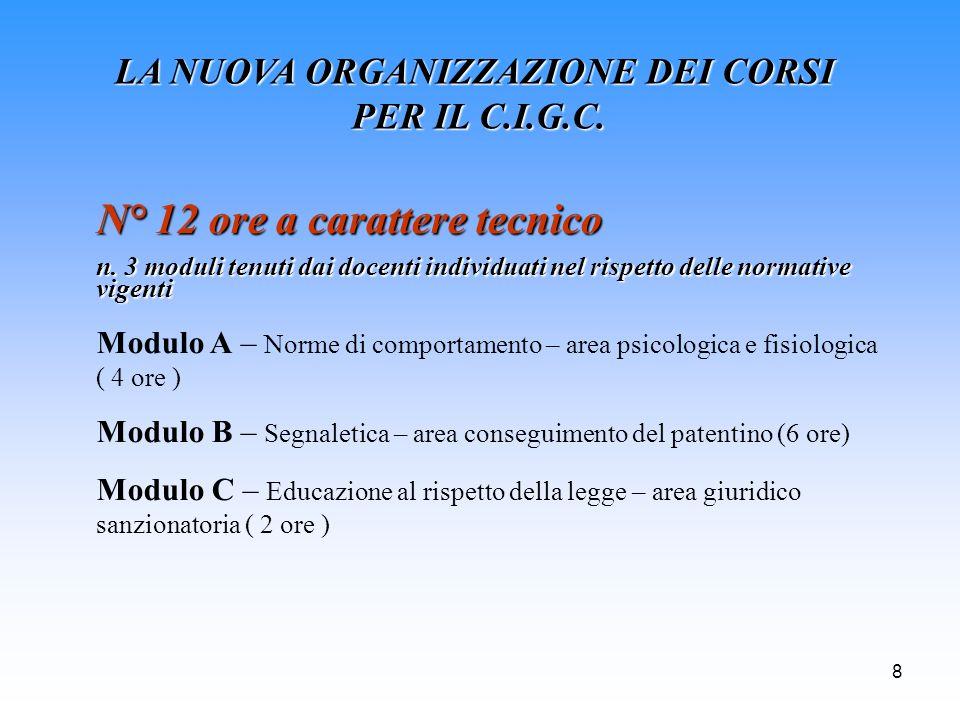 8 LA NUOVA ORGANIZZAZIONE DEI CORSI PER IL C.I.G.C. N° 12 ore a carattere tecnico n. 3 moduli tenuti dai docenti individuati nel rispetto delle normat