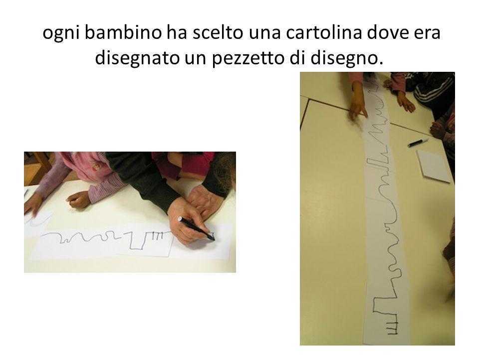 ogni bambino ha scelto una cartolina dove era disegnato un pezzetto di disegno.