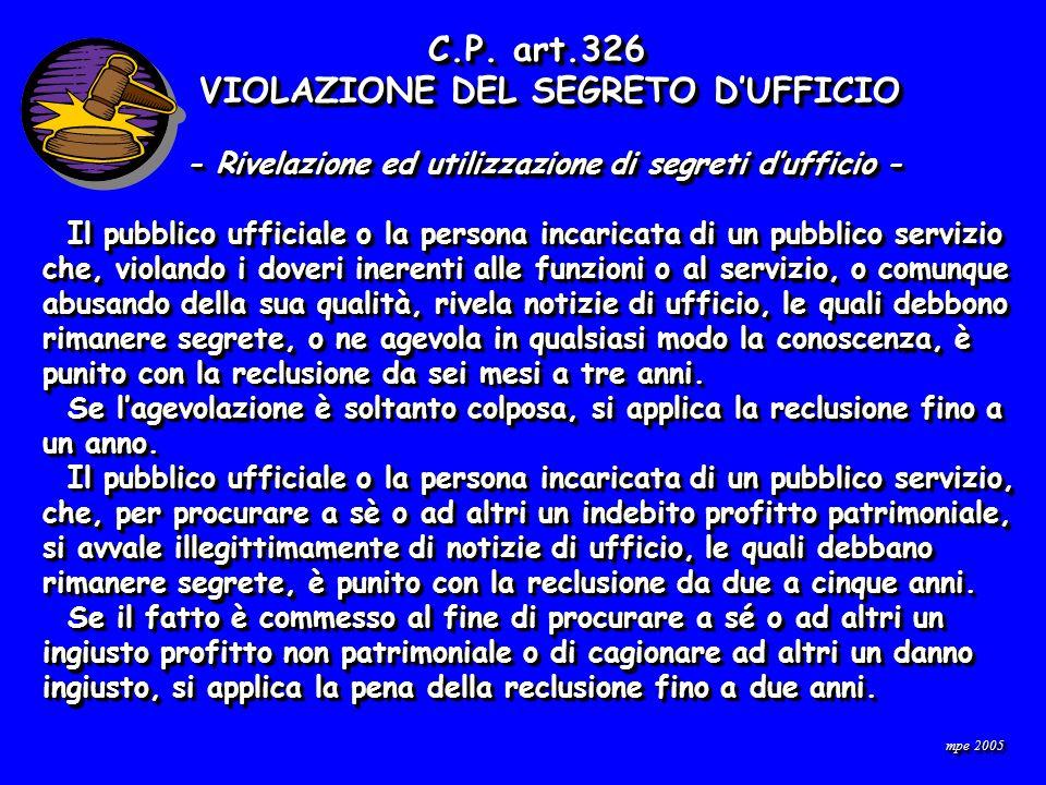 mpe 2005 C.P. art.326 C.P.