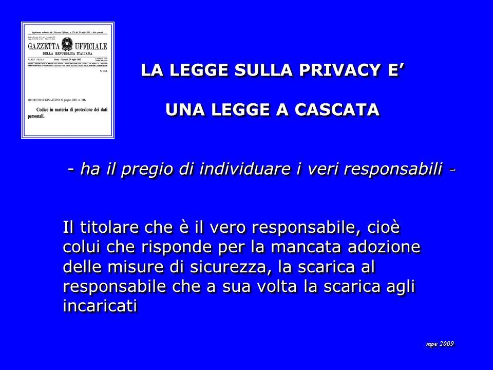 LA LEGGE SULLA PRIVACY E LA LEGGE SULLA PRIVACY E UNA LEGGE A CASCATA UNA LEGGE A CASCATA - ha il pregio di individuare i veri responsabili - - ha il pregio di individuare i veri responsabili - LA LEGGE SULLA PRIVACY E LA LEGGE SULLA PRIVACY E UNA LEGGE A CASCATA UNA LEGGE A CASCATA - ha il pregio di individuare i veri responsabili - - ha il pregio di individuare i veri responsabili - Il titolare che è il vero responsabile, cioè colui che risponde per la mancata adozione delle misure di sicurezza, la scarica al responsabile che a sua volta la scarica agli incaricati Il titolare che è il vero responsabile, cioè colui che risponde per la mancata adozione delle misure di sicurezza, la scarica al responsabile che a sua volta la scarica agli incaricati
