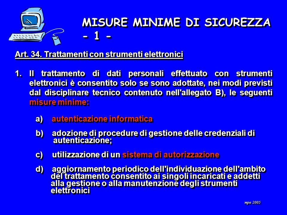 MISURE MINIME DI SICUREZZA - 1 - Art. 34.