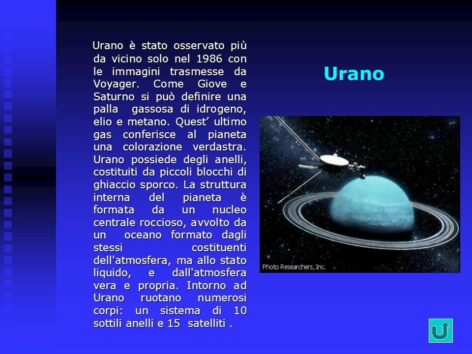 Saturno Osservato da Galileo (1610) e dalle sonde tra il 1979 e il 1981, ha ben 18 satelliti, diverse migliaia di anelli e un intenso campo magnetico.