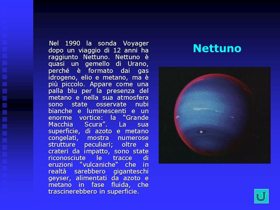 Urano Urano è stato osservato più da vicino solo nel 1986 con le immagini trasmesse da Voyager. Come Giove e Saturno si può definire una palla gassosa