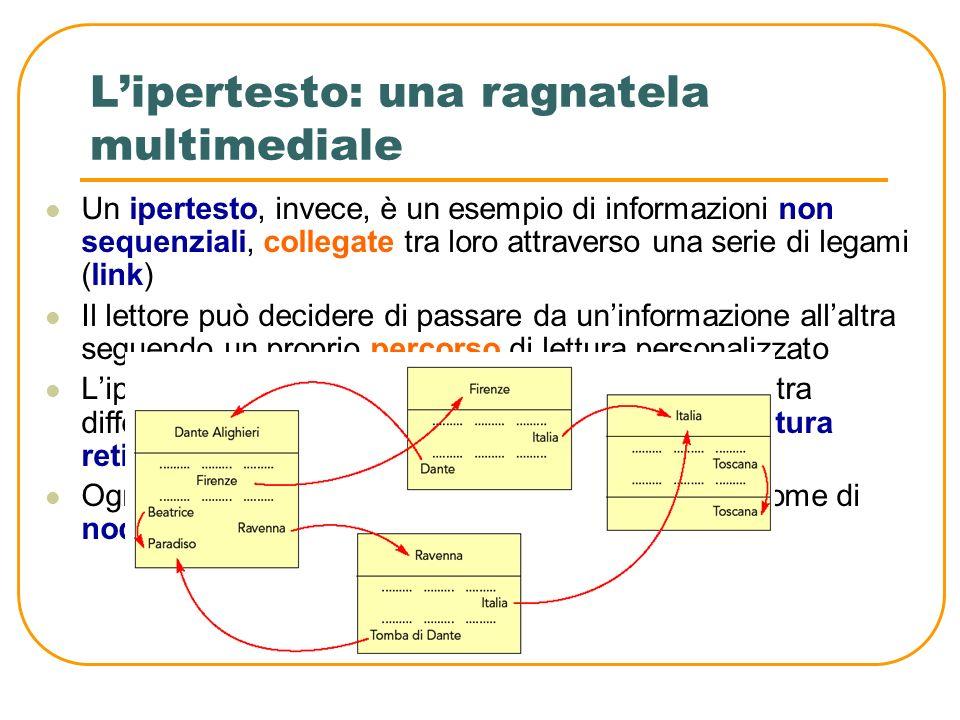 Lipertesto: una ragnatela multimediale Il concetto di sequenzialità è caratteristico di un testo scritto e implica una successione ordinata di informa