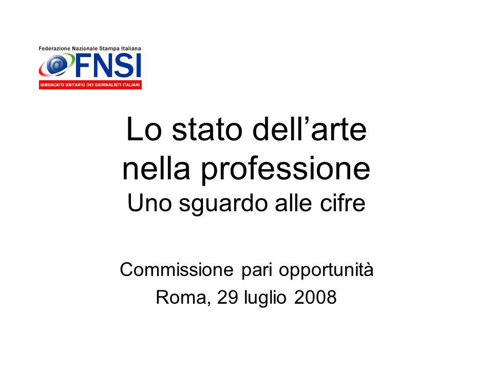 Lo stato dellarte nella professione Uno sguardo alle cifre Commissione pari opportunità Roma, 29 luglio 2008