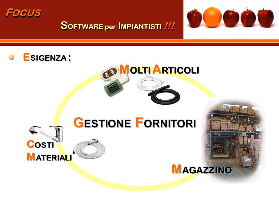 P RODUTTORE A RTICOLO F ORNITORE 1 F ORNITORE 2 ….. F ORNITORE N GESTIONE FORNITORI!!