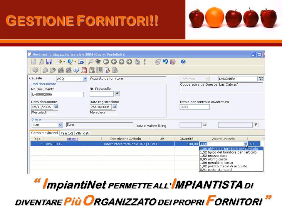G ESTIONE F ORNITORI !.