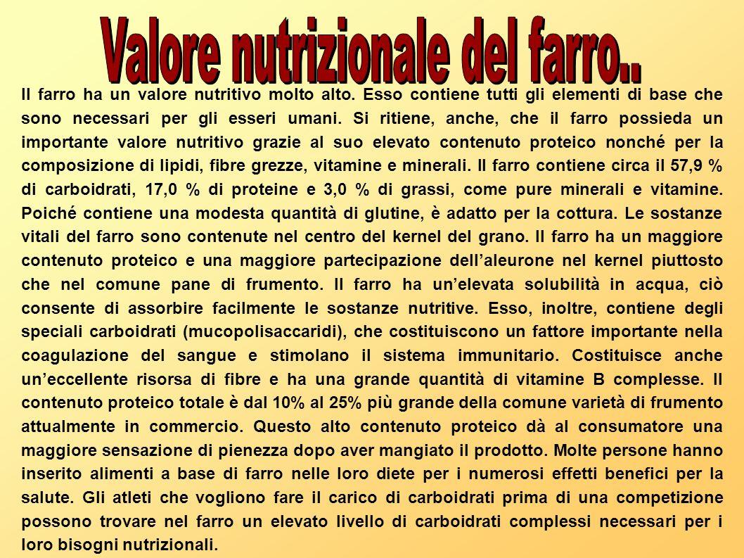 Il farro ha un valore nutritivo molto alto. Esso contiene tutti gli elementi di base che sono necessari per gli esseri umani. Si ritiene, anche, che i