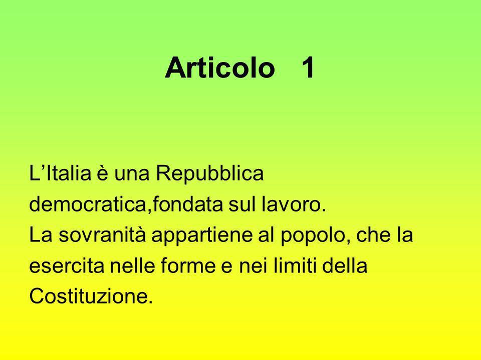 Articolo 1 LItalia è una Repubblica democratica,fondata sul lavoro. La sovranità appartiene al popolo, che la esercita nelle forme e nei limiti della