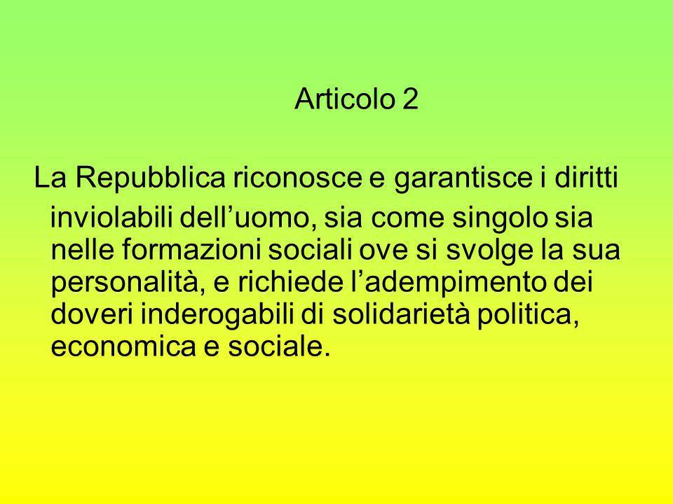Articolo 2 La Repubblica riconosce e garantisce i diritti inviolabili delluomo, sia come singolo sia nelle formazioni sociali ove si svolge la sua per