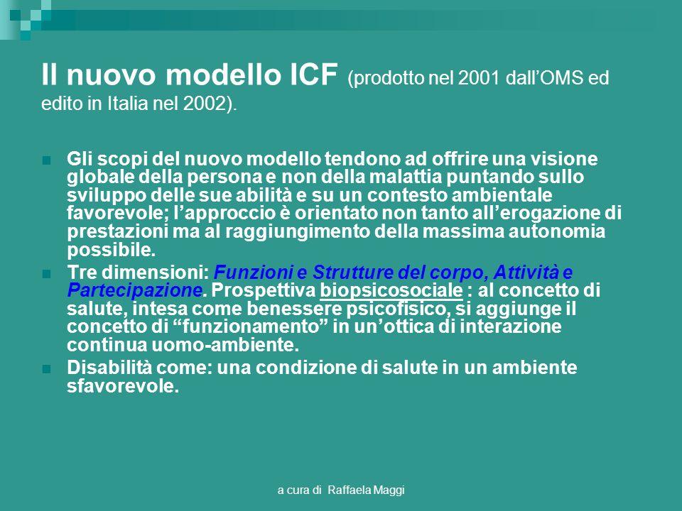 a cura di Raffaela Maggi Il nuovo modello ICF (prodotto nel 2001 dallOMS ed edito in Italia nel 2002). Gli scopi del nuovo modello tendono ad offrire