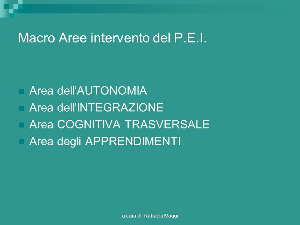 a cura di Raffaela Maggi Macro Aree intervento del P.E.I.