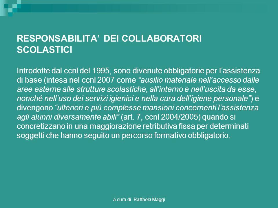 a cura di Raffaela Maggi RESPONSABILITA DEI COLLABORATORI SCOLASTICI Introdotte dal ccnl del 1995, sono divenute obbligatorie per lassistenza di base