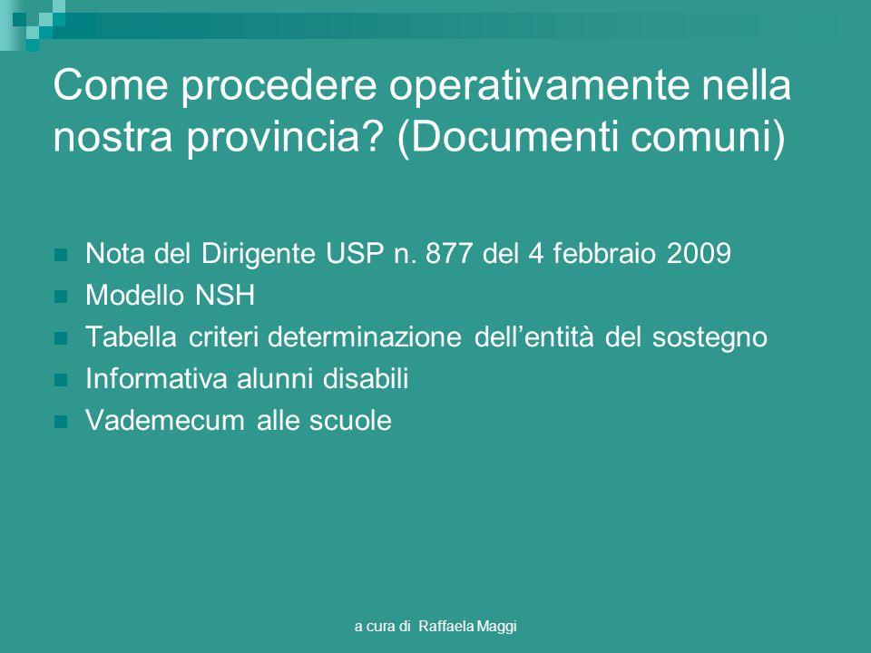 a cura di Raffaela Maggi Come procedere operativamente nella nostra provincia? (Documenti comuni) Nota del Dirigente USP n. 877 del 4 febbraio 2009 Mo