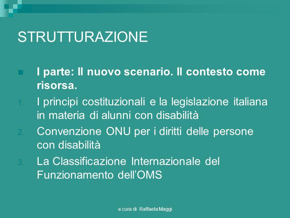 a cura di Raffaela Maggi STRUTTURAZIONE I parte: Il nuovo scenario. Il contesto come risorsa. 1. I principi costituzionali e la legislazione italiana