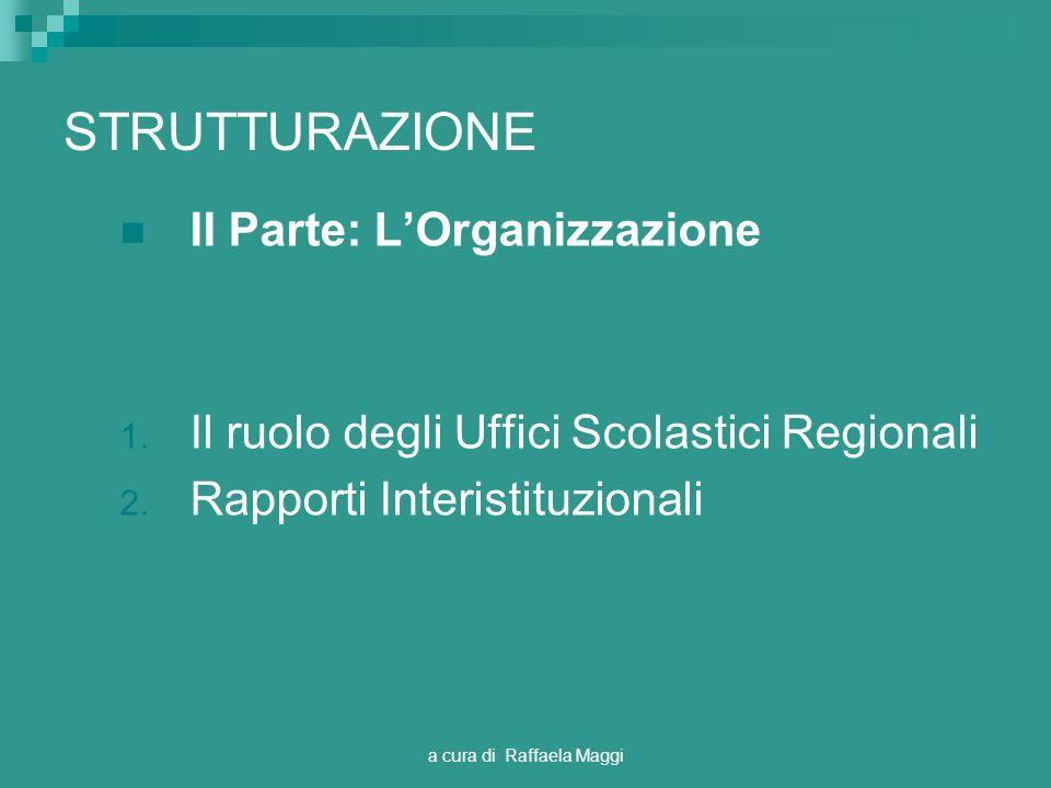 a cura di Raffaela Maggi STRUTTURAZIONE II Parte: LOrganizzazione 1. Il ruolo degli Uffici Scolastici Regionali 2. Rapporti Interistituzionali