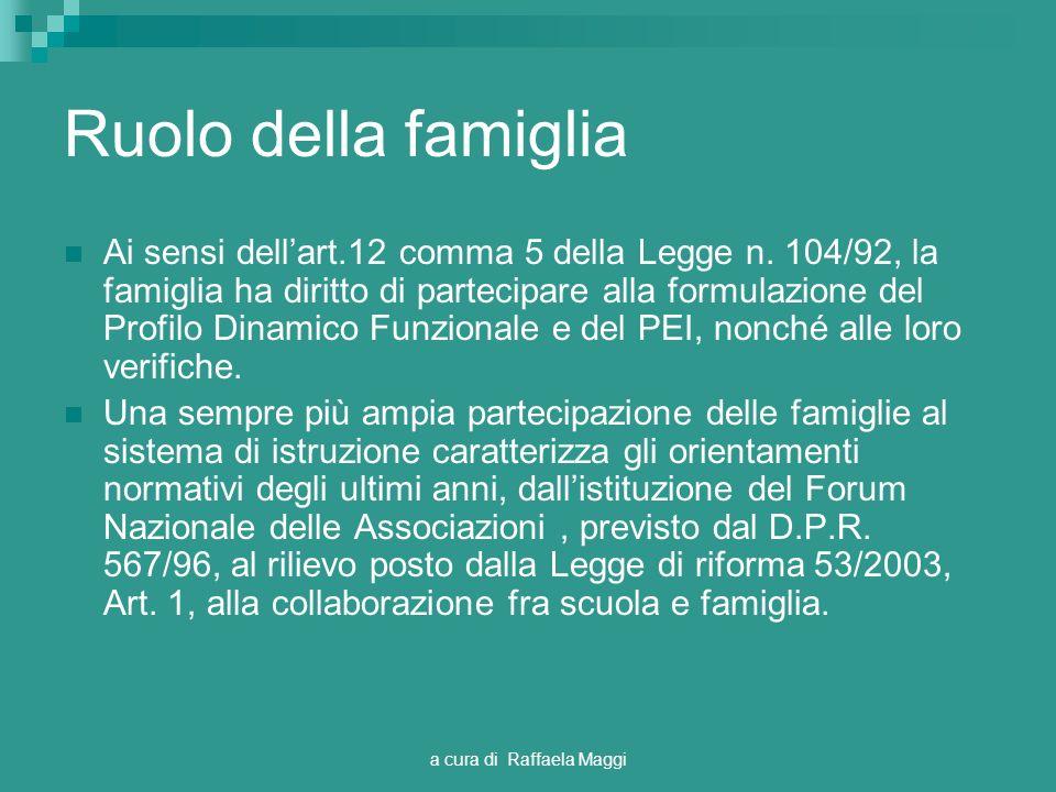 a cura di Raffaela Maggi Ruolo della famiglia Ai sensi dellart.12 comma 5 della Legge n. 104/92, la famiglia ha diritto di partecipare alla formulazio