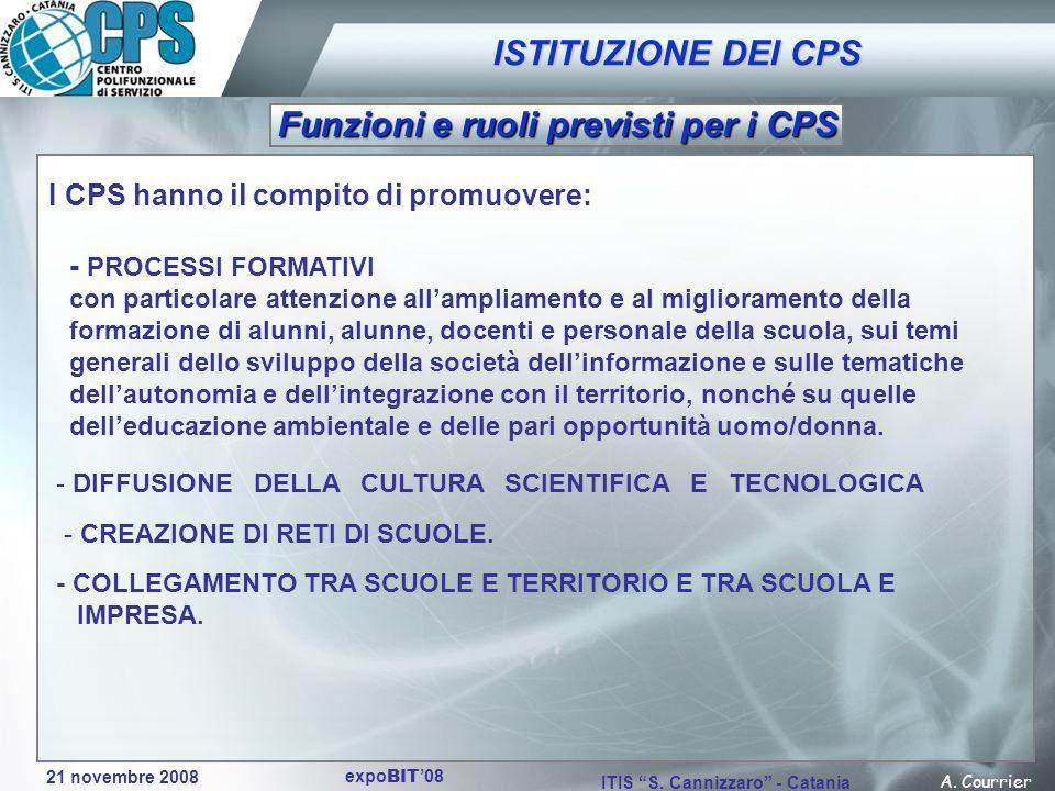 21 novembre 2008 A. Courrier ITIS S. Cannizzaro - Catania expo BIT 08 - DIFFUSIONE DELLA CULTURA SCIENTIFICA E TECNOLOGICA I CPS hanno il compito di p