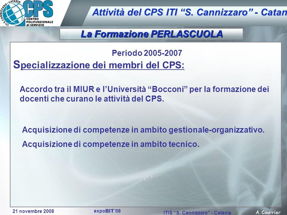 21 novembre 2008 A. Courrier ITIS S. Cannizzaro - Catania expo BIT 08 Attività del CPS ITI S. Cannizzaro - Catania Periodo 2005-2007 S pecializzazione