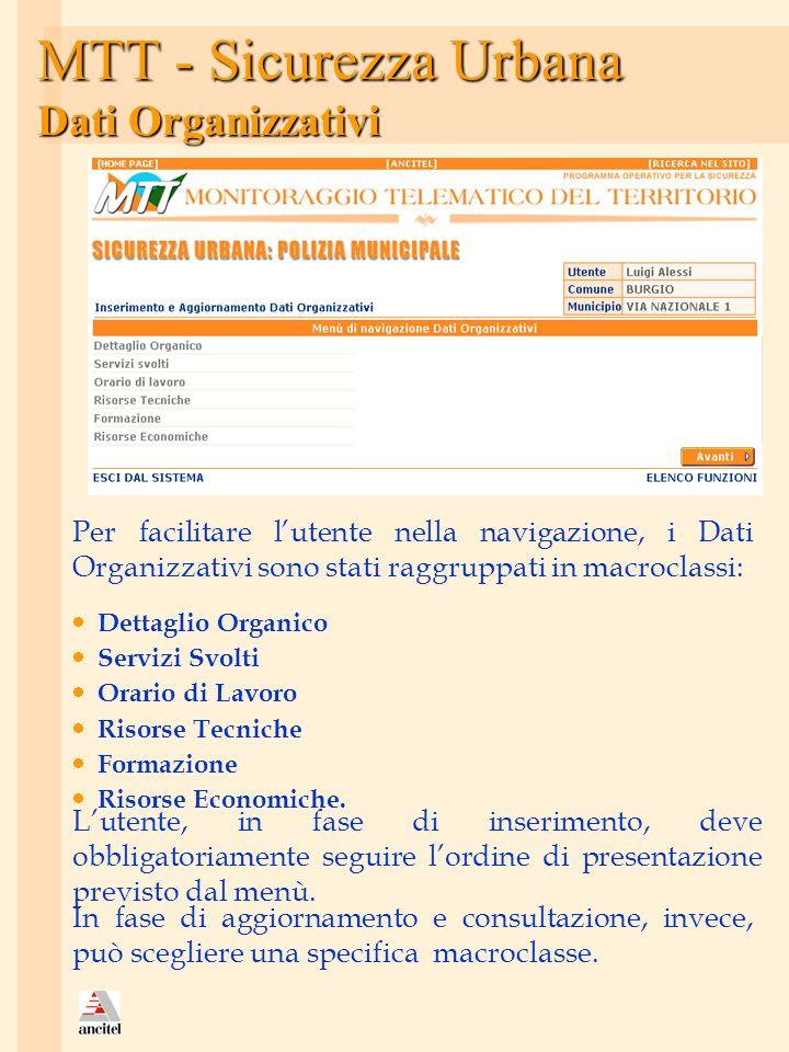 MTT - Sicurezza Urbana Dati Organizzativi Per facilitare lutente nella navigazione, i Dati Organizzativi sono stati raggruppati in macroclassi: Dettag