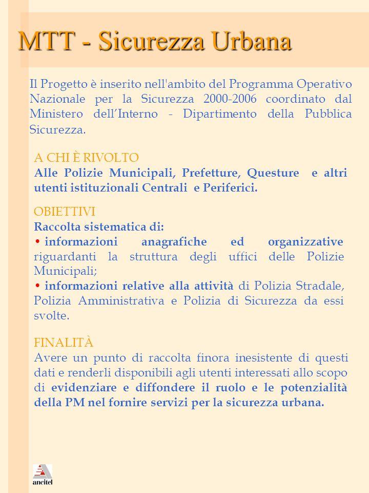 MTT - Sicurezza Urbana Il Progetto è inserito nell'ambito del Programma Operativo Nazionale per la Sicurezza 2000-2006 coordinato dal Ministero dellIn