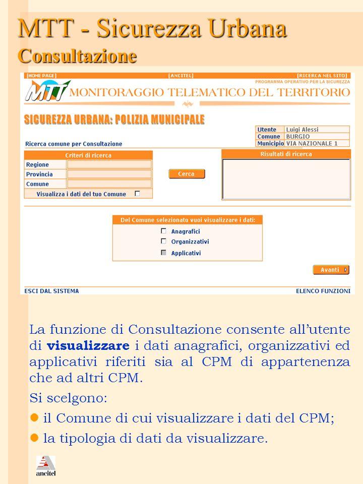 MTT - Sicurezza Urbana Consultazione La funzione di Consultazione consente allutente di visualizzare i dati anagrafici, organizzativi ed applicativi r